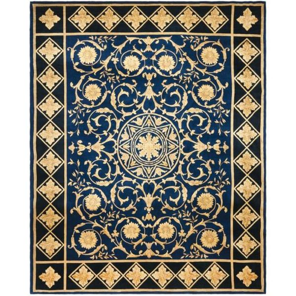 Safavieh Couture Florence Hand-Knotted Majesty Royal Blue/ Black Wool Area Rug (8' Round)