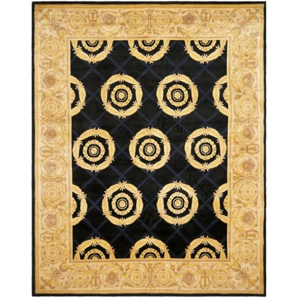 Pasargad Ny Persian Hand Knotted Wool Light Blue Ivory: Navy And Gold Area Rug