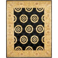 Handmade Safavieh Couture Florence Medallion Navy/ Gold Wool Area Rug (China) - 8' x 10'