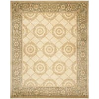 Handmade Asian Hand-knotted Medallion Ivory/ Grey Wool Rug - 8' x 10'
