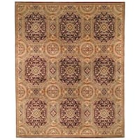 Safavieh Couture Florence Hand-Knotted Royalty Beige/ Purple Wool Area Rug - 4' x 6'