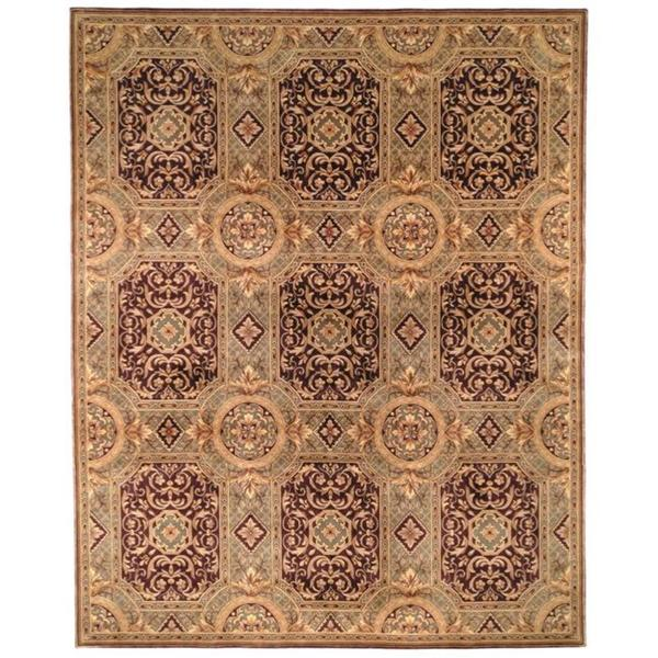 Safavieh Couture Florence Hand-Knotted Royalty Beige/ Purple Wool Area Rug (6' Square)