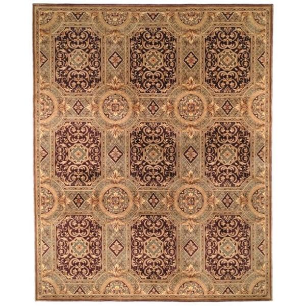 Handmade Safavieh Couture Florence Royalty Beige/ Purple Wool Area Rug - 8' x 10' (China)