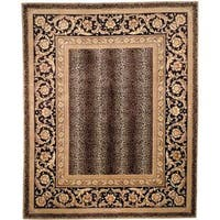 Handmade Safavieh Couture Florence Leopard Beige/ Black Wool Area Rug (China) - 4' x 6'