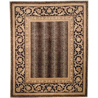 Asian Hand-knotted Leopard Beige/ Black Wool Rug (6' x 9')