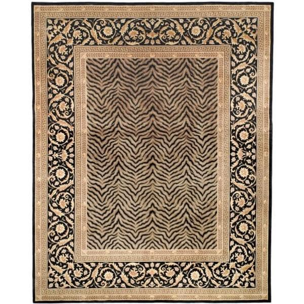 Safavieh Couture Florence Hand-Knotted Zebra Beige/ Black Wool Area Rug (8' Square)