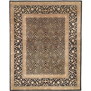 Asian Hand-knotted Zebra Beige Wool Rug (9' x 12')