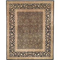 Handmade Safavieh Couture Florence Zebra Beige/ Black Wool Area Rug - 9' x 12' (China)