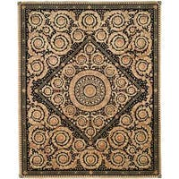Handmade Safavieh Couture Florence Royal Crest Beige/ Black Wool Area Rug - 6' x 9' (China)