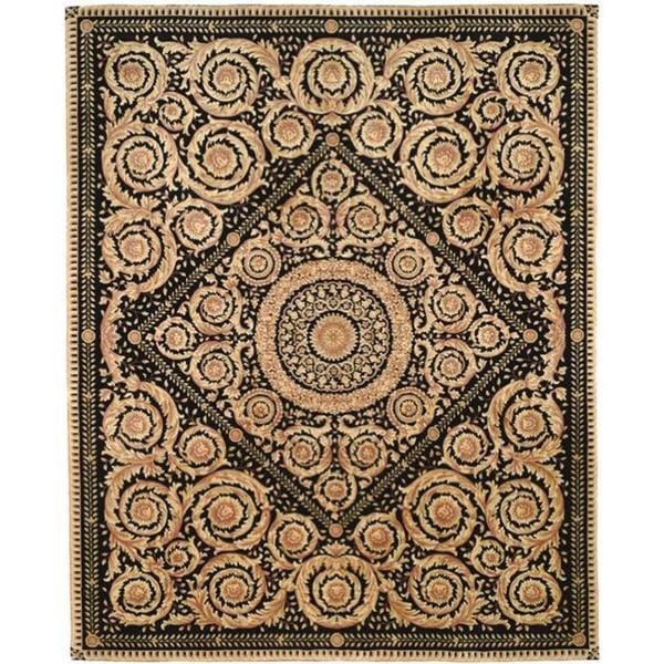 Asian Hand-knotted Royal Crest Beige/ Black Wool Rug (6' Square)