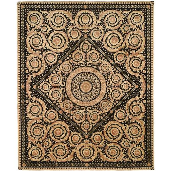 Handmade Safavieh Couture Florence Royal Crest Beige/ Black Wool Area Rug - 8' x 10' (China)