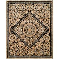 Safavieh Couture Florence Hand-Knotted Royal Crest Beige/ Black Wool Area Rug (8' x 10')