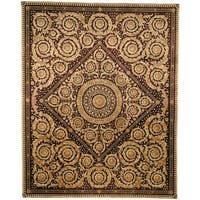 Handmade Safavieh Couture Florence Royal Crest Beige/ Burgundy Wool Area Rug - 10' x 14' (China)