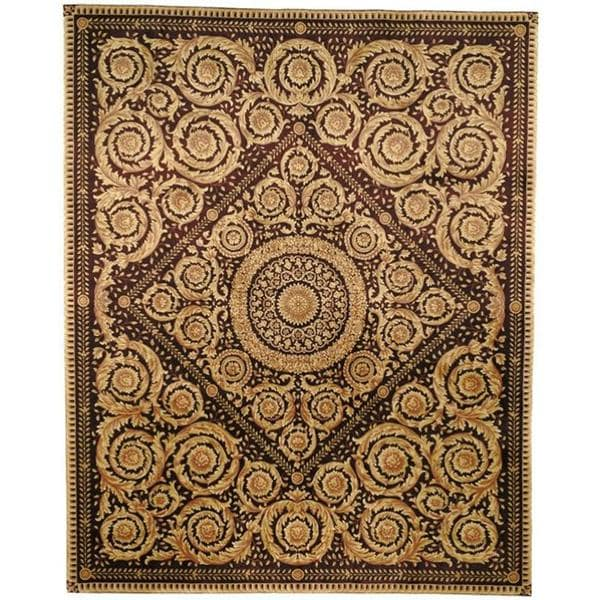 Asian Hand-knotted Royal Crest Beige/ Purple Wool Rug (6' x 9')