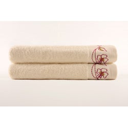 Turkish Cotton Embroidered Bath Towels (Set of 2) - Thumbnail 1