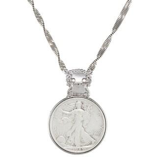 American Coin Treasures Silver Walking Liberty Half Dollar in Silvertone Bezel Pendant