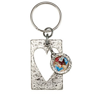 American Coin Treasures Colorized Silver Mercury Dime Heart Keychain