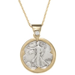 American Coin Treasures Silver Walking Liberty Half Dollar Crystal Bail Pendant