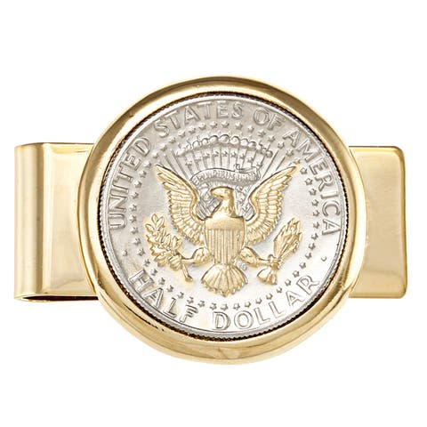 American Coin Treasures Selectively Gold-plated Presidential Seal JFK Half Dollar Goldtone Money Clip - Gold/Silver