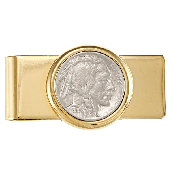 American Coin Treasures Buffalo Nickel Goldtone Moneyclip