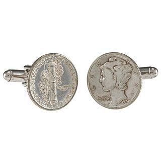 American Coin Treasures Silver Mercury Dime Cuff Links