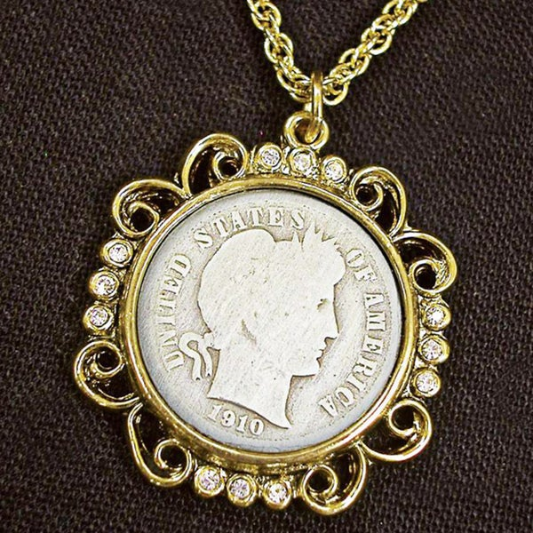 American Coin Treasures Silver Barber Dime Goldtone with Crystals Pendant