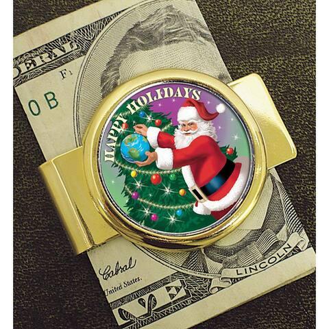 American Coin Treasures Colorized Santa JFK Half Dollar Goldtone Moneyclip