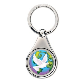 American Coin Treasures Colorized World Peace JFK Half Dollar Keychain