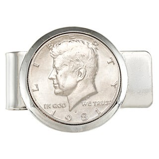 American Coin Treasures Silvertone JFK Half Dollar Money Clip