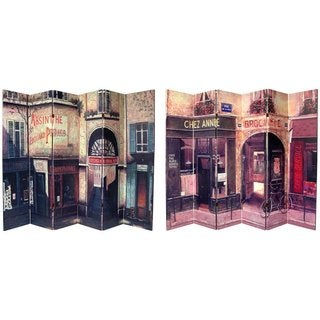 Handmade Canvas 6-foot Double-sided French Cafe Room Divider (China)