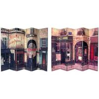 Handmade Canvas 6-foot Double-sided French Cafe Room Divider (China) - 70.8 x 94.5