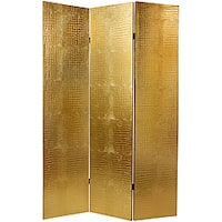 Faux Leather 6-foot Gold Crocodile Room Divider (China)