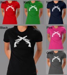 Los Angeles Pop Art Women's Crossed Pistols T-shirt