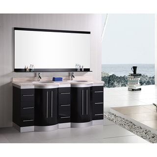 Design Element Supreme 72-inch Espresso Double-sink Bathroom Vanity with Mirror