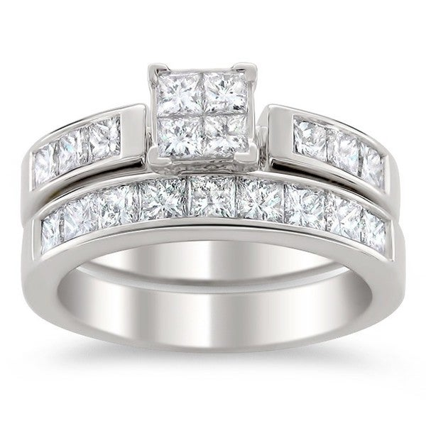 Montebello 14k White Gold 2ct TDW Certified Multi Stone Princess Cut Diamond Bridal Set (G-H, I1)