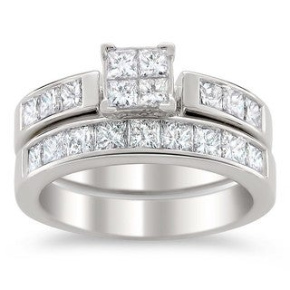 Montebello 14k White Gold 2ct TDW Certified Multi Stone Princess Cut Diamond Bridal Set