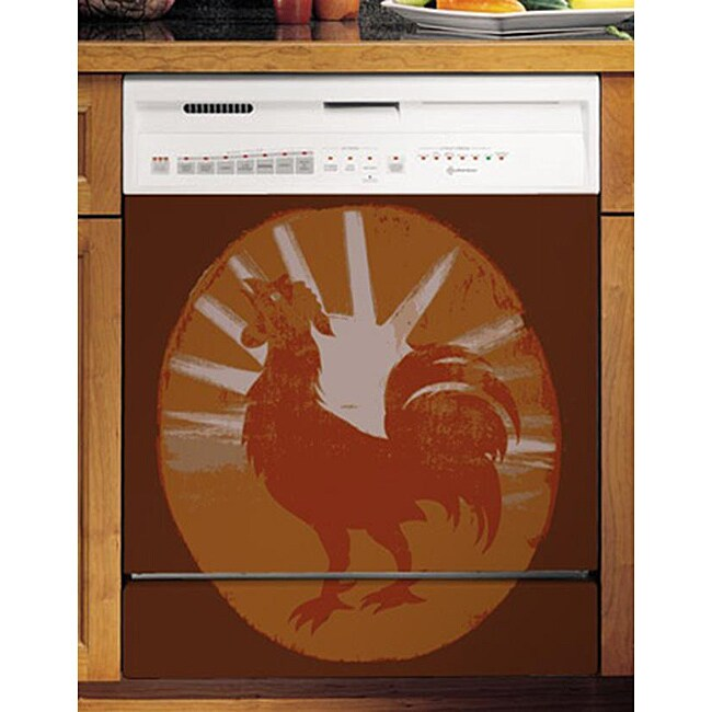 Appliance Art's Weathered Painted Rooster Dishwasher Cover