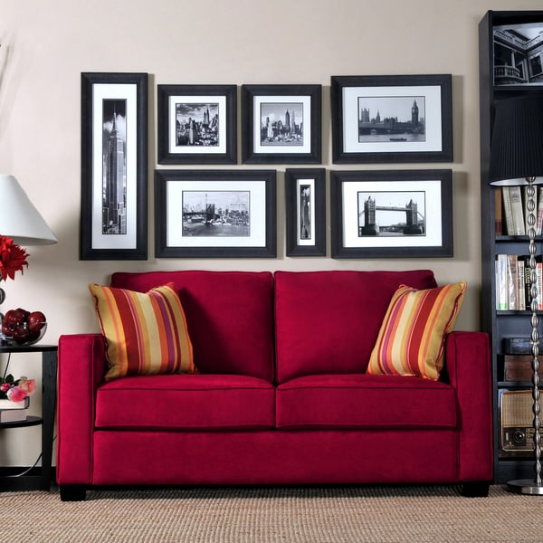 Shop Handy Living Madi Crimson Red Microfiber Sofa With