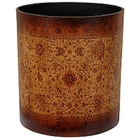 Handmade Olde-Worlde Brown Baroque Waste Basket (China)