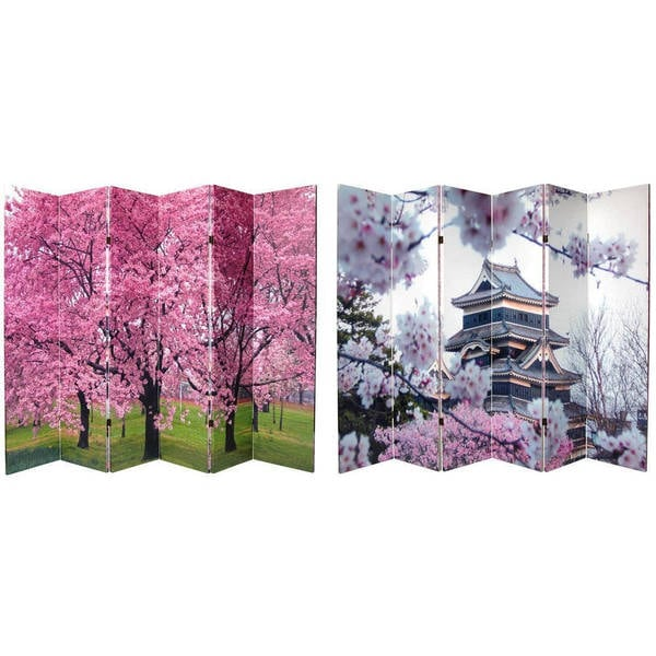 Handmade Canvas 6-foot Double-sided Cherry Blossoms Room Divider (China)