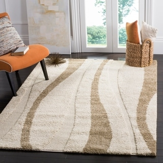 Safavieh Willow Contemporary Cream/ Brown Shag Rug (5'3 x 7'6)