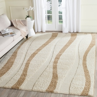 Safavieh Willow Contemporary Cream/ Brown Shag Rug (8' x 10')