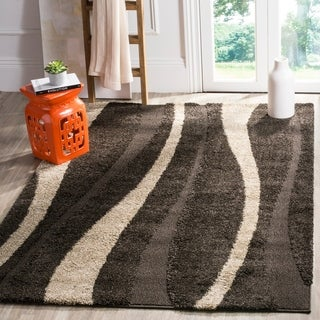 Safavieh Willow Contemporary Dark Brown/ Beige Shag Rug (5'3 x 7'6)