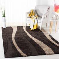 Safavieh Willow Contemporary Dark Brown/ Beige Shag Rug (8' x 10') - 8' x 10'