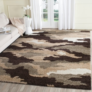 Safavieh Camouflage Shag Beige/ Multicolored Rug (8' x 10')