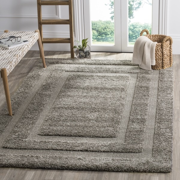 safavieh shadow box ultimate grey shag rug 8u0027 x - Grey Shag Rug