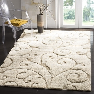 Safavieh Ultimate Cream/ Beige Geometric Shag Rug (4' x 6')