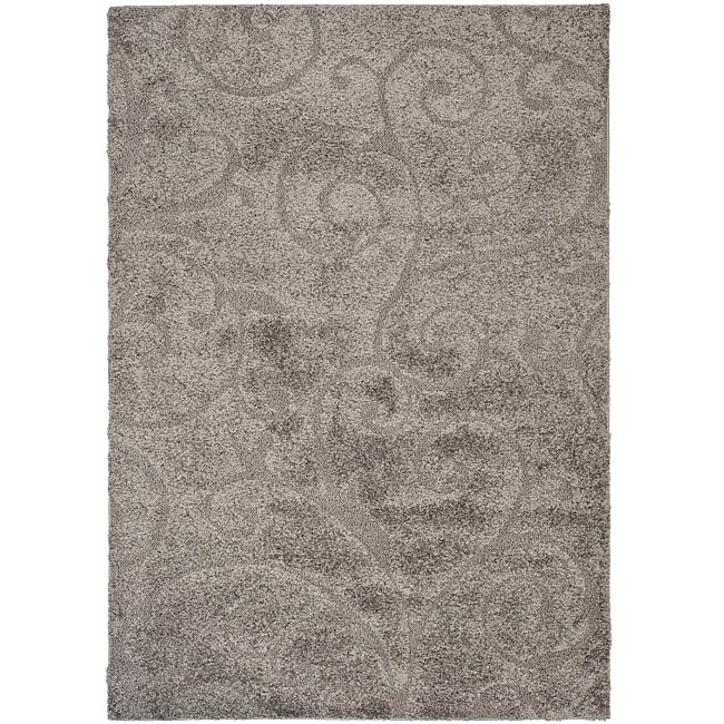 Safavieh Florida Ultimate Shag Dark Grey/ Beige Rug (5'3 x 7'6)