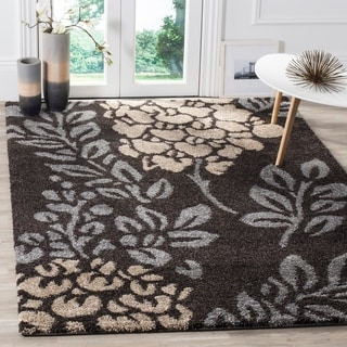 Safavieh Ultimate Shag Dark Brown/ Slate Grey Floral Area Rug (5'3 x 7'6)