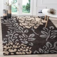Safavieh Ultimate Shag Dark Brown/ Slate Grey Floral Area Rug - 5'3 x 7'6